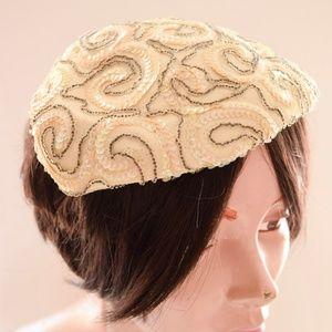 Vintage Sequin Swirl Capulet Hat